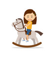 little girl riding a toy horse vector image vector image