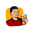 man with beer mug retro comic pop art vector image vector image