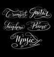 music hand written typography vector image vector image