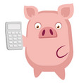 piggy is holding a calculator on white background vector image