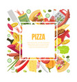 pizza banner template with cooking ingredients of vector image vector image