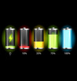 realistic discharged and fully charged battery vector image vector image