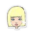 retro distressed sticker a cartoon female face vector image vector image