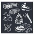 set camping equipments vector image vector image