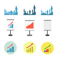 set of graphs showing growth business vector image vector image
