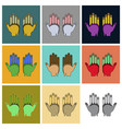 set of icons in flat design golf gloves vector image