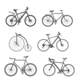 set silhouettes bicycles vector image