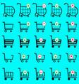 shopping basket set - online shopping cart vector image vector image