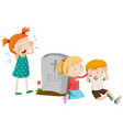 three sad children by the grave vector image vector image