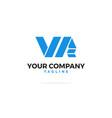 vr letters logo ribbon vector image