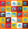 water wave icons set flat style vector image vector image