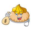 with money bag vanilla ice cream biscuit on vector image vector image
