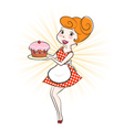woman with cake vector image vector image