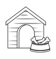 wooden house pet with dish bones vector image vector image