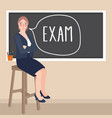 teacher sitting in front of class writing exam in vector image