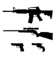 semi-automatic rifle hunting rifle and pistols vector image