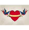 Tattoo style swallows with heart old school vector image