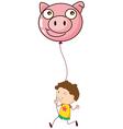 A boy holding a pig balloon vector image vector image