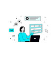 a young girl creating websites on her laptop vector image vector image
