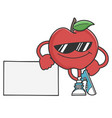 apple character with sunglasses leaning on sign vector image