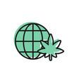 black line legalize marijuana or cannabis globe vector image vector image