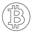 black outline bitcoin sign isolated on white vector image