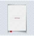 blank notebook with red bookmark isolated vector image