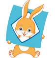 bunny with a card of geometric shape rhombus vector image vector image