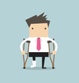 Businessman injured standing with crutches vector image