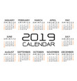 calendar 2019 black orange text number on white vector image vector image