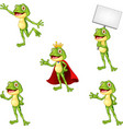 cartoon frog collection set vector image