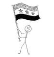 cartoon of man waving the flag of syrian arab vector image vector image
