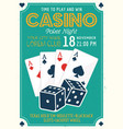 casino and poker invitation colored poster vector image