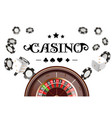 casino background roulette wheel with dice and vector image vector image