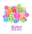 cocktail menu design flat style poster vector image