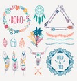 colorful ethnic set with arrows feathers crystals vector image vector image