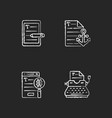 copy writing chalk white icons set on black vector image vector image