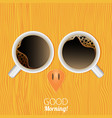 cups of coffee good morning abstract owl vector image