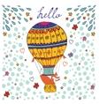 Cute hello card with hot air balloon and fox vector image