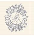 Doodles floral frame on grunge paper Hand vector image