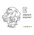 elephant engineer abc coloring book alphabet e