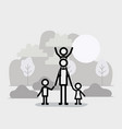 family members linear figures in the landscape vector image vector image