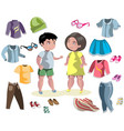 fashion costumes teenage wear set vector image vector image