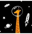giraffe in space vector image vector image