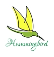 Green hummingbird with pointed wings vector image vector image
