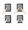 hands holding tablet collection vector image vector image