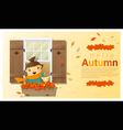 Hello autumn background with little girl vector image vector image