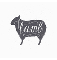 Hipster style sheep silhouette Lamb meat hand vector image