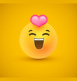 in love yellow emoticon face 3d background vector image