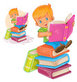 little boy is sitting on a pile books and vector image